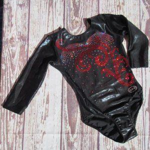 Ozone Leotard XS Black Dance Gymnastics Red Silver